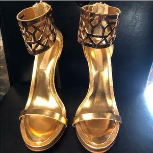BCBG gold sandal